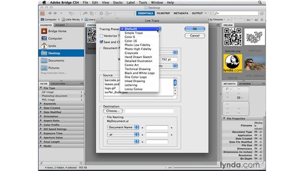 Tracing in Batch mode with Adobe Bridge: Illustrator CS4 Beyond the Basics