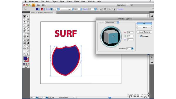 Applying the 3D Rotate effect: Illustrator CS4 Beyond the Basics