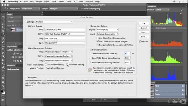 Configure advanced color management settings: Customize Photoshop: A Practical Approach