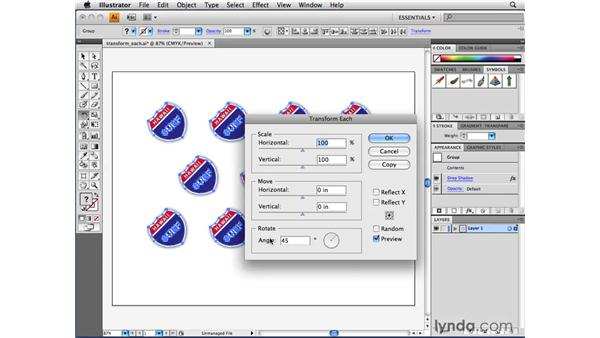 Using the Transform Each function: Illustrator CS4 Beyond the Basics