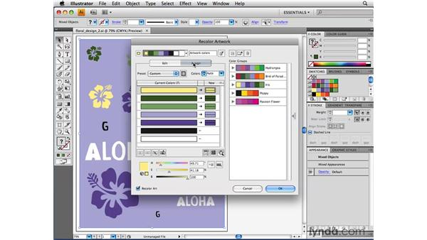 Modifying color with the Recolor Artwork feature: Illustrator CS4 Beyond the Basics