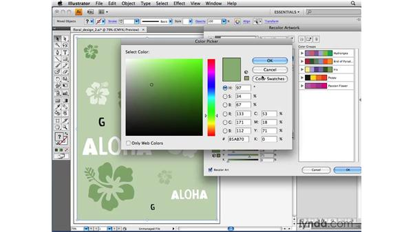 Using the Assign tab to replace colors: Illustrator CS4 Beyond the Basics