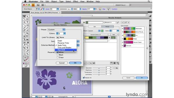 Using Recolor options: Illustrator CS4 Beyond the Basics