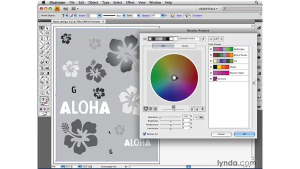 Converting artwork to grayscale: Illustrator CS4 Beyond the Basics