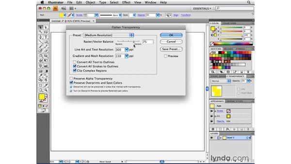 Exploring the transparency flattener settings: Illustrator CS4 Beyond the Basics