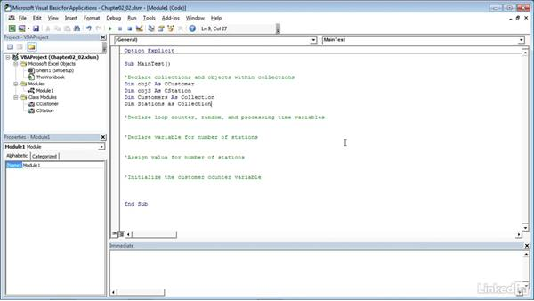 Declaring variables used in the simulation: Process Modeling in Excel Using VBA