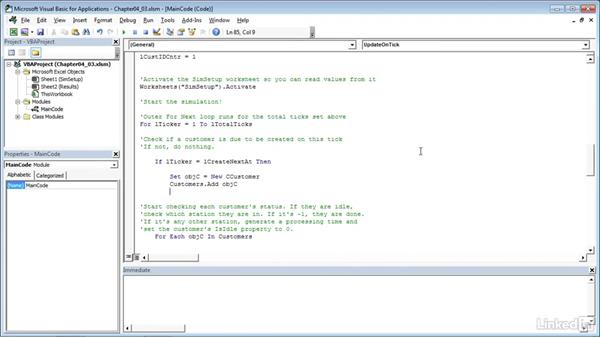 Adding customers to the simulation: Process Modeling in Excel Using VBA