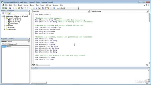 Running the simulation with rework loops: Process Modeling in Excel Using VBA