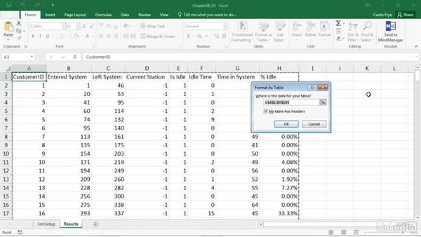 Converting simulation output to an Excel table: Process Modeling in Excel Using VBA