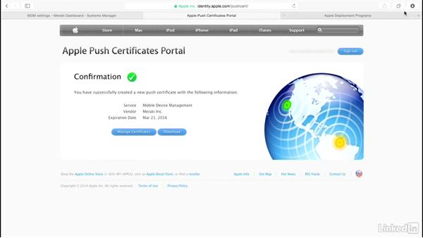 Configure push notification certificates: Mobile Device Management with Meraki: Managing iPads