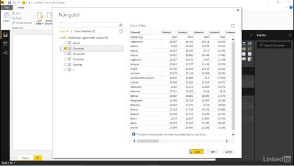 Connecting to a file: Excel: Learn Microsoft Power BI Desktop: The Basics