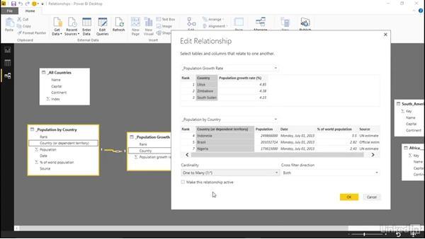 Creating relationships between tables: Learn Microsoft Power BI Desktop: The Basics