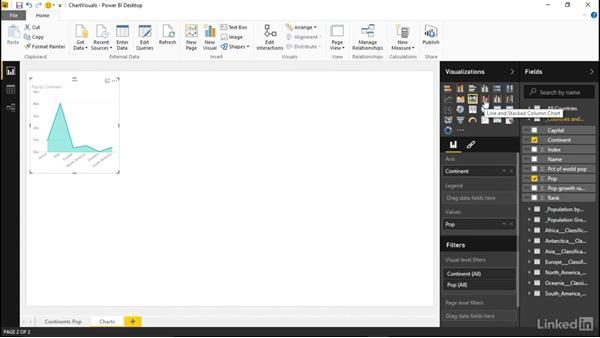 Creating and formatting chart visuals: Learn Microsoft Power BI Desktop: The Basics
