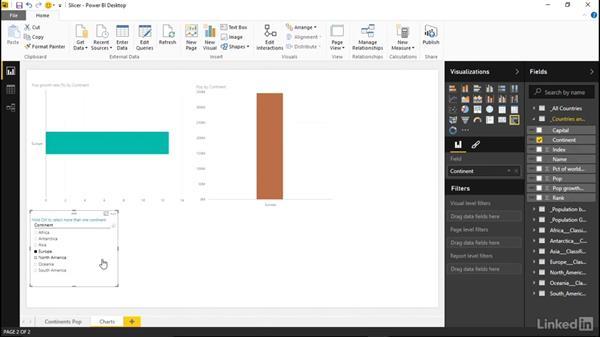 Using a slicer to filter visuals: Learn Microsoft Power BI Desktop: The Basics
