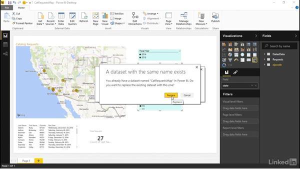 Republishing a dataset to the Power BI service: Learn Microsoft Power BI Desktop: The Basics