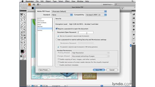 Protecting content with secure PDFs: Illustrator CS4 Beyond the Basics