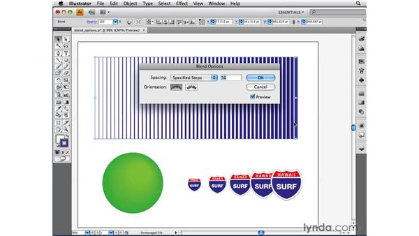Adjusting blend options: Illustrator CS4 Beyond the Basics