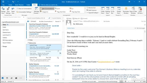 Show messages by conversation: Efficient Email Management with Outlook 2016