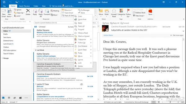 Mark messages: Efficient Email Management with Outlook 2016
