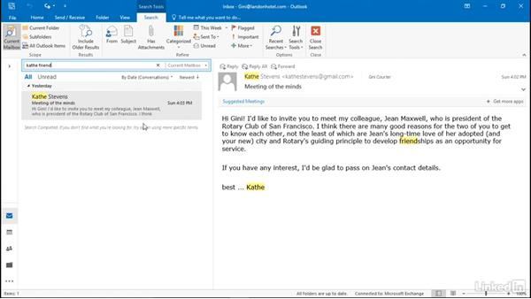Use Instant Search to find a message: Efficient Email Management with Outlook 2016