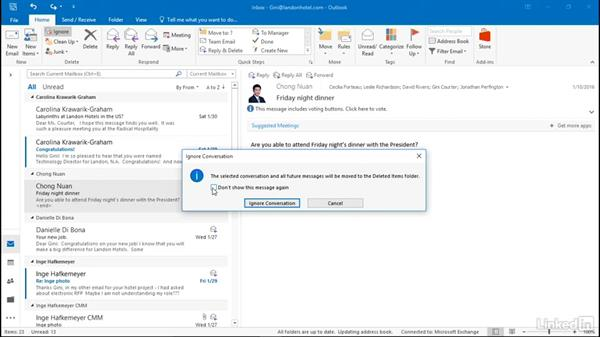 Ignore a conversation: Efficient Email Management with Outlook 2016