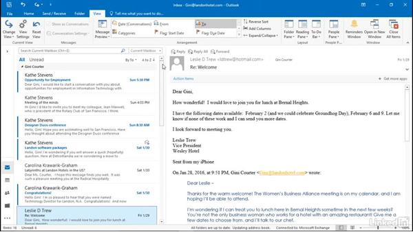 Arrange email by date or sender: Efficient Email Management with Outlook 2016