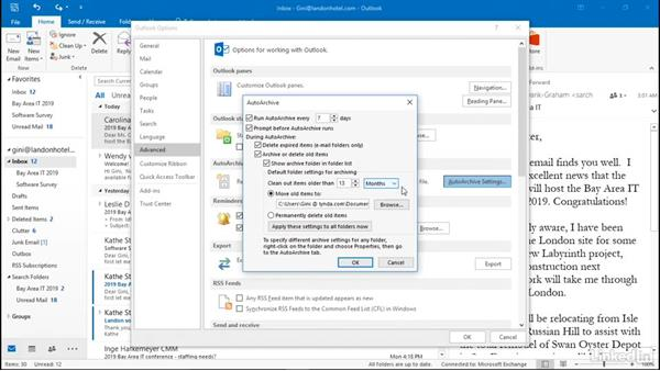 Set AutoArchive options: Efficient Email Management with Outlook 2016