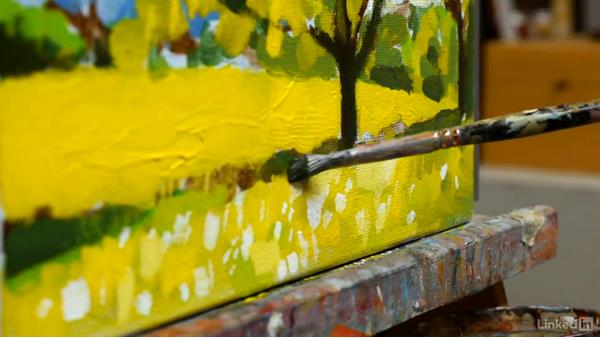 A spring landscape: Adding greens: Foundations of Painting: Creating Palettes for the Landscape