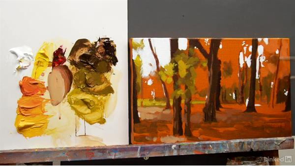 Autumn reflections: Adding oranges: Foundations of Painting: Creating Palettes for the Landscape