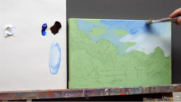 A summer scene: Dark tonal pattern: Foundations of Painting: Creating Palettes for the Landscape