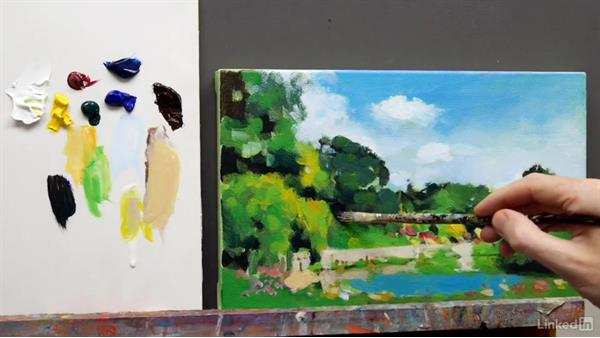 A summer scene: Finishing touches: Foundations of Painting: Creating Palettes for the Landscape