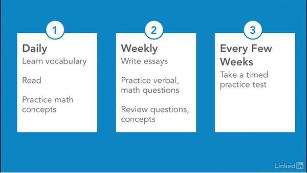 Prepare a study timeline: Test Prep: GRE