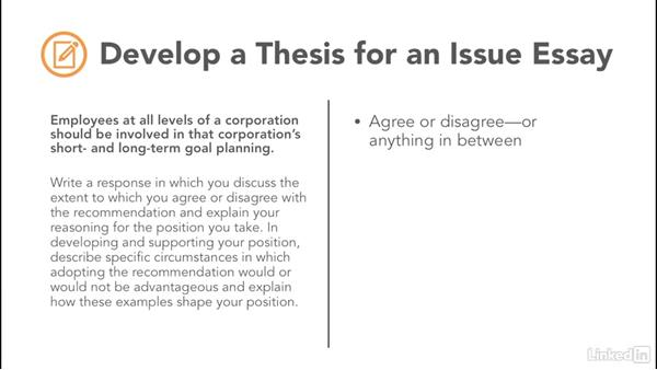 develop a thesis for the issue essay