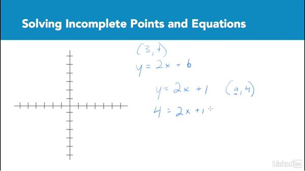 Solving incomplete points and equations: Test Prep: GRE