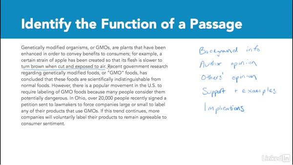 Identify the function of a passage: Test Prep: GRE