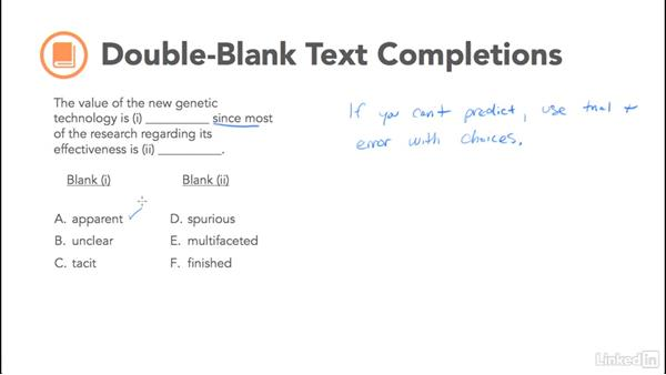 Double-blank text completions: Test Prep: GRE