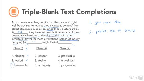 Triple-blank text completion: Test Prep: GRE