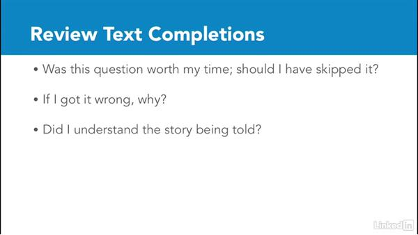Review text completions: Test Prep: GRE
