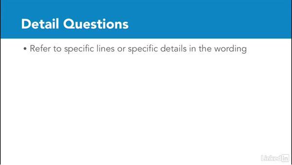 Detail questions: Test Prep: GRE