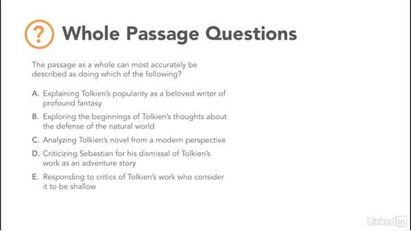 Whole passage questions: Test Prep: GRE