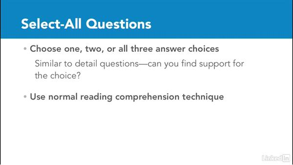 Select-all and select-in-passage questions: Test Prep: GRE