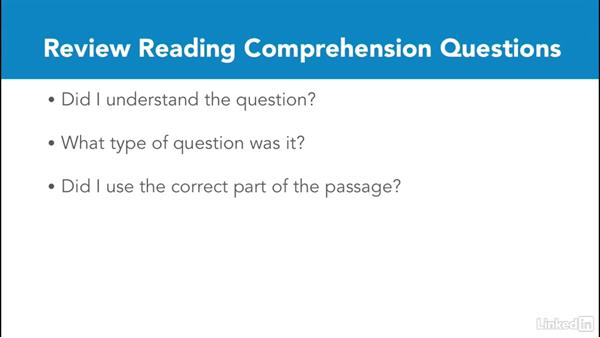 Review reading comprehension questions: Test Prep: GRE