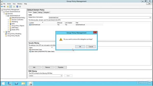 Configure security filtering and Windows Management Instrumentation (WMI) filtering: Windows Server 2012 R2: Manage Group Policy