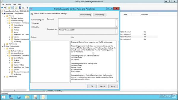 Configure administrative template settings: Windows Server 2012 R2: Manage Group Policy