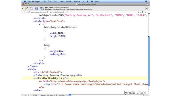Adding alternate content: Flash CS4 Professional: Building Search Engine Friendly Sites