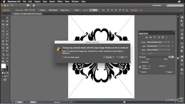 Tracing raster graphics using Image Trace: Introduction to Graphic Design
