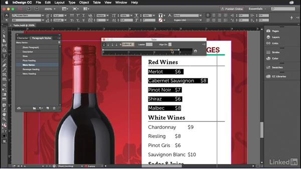Working with tabs in InDesign: Introduction to Graphic Design
