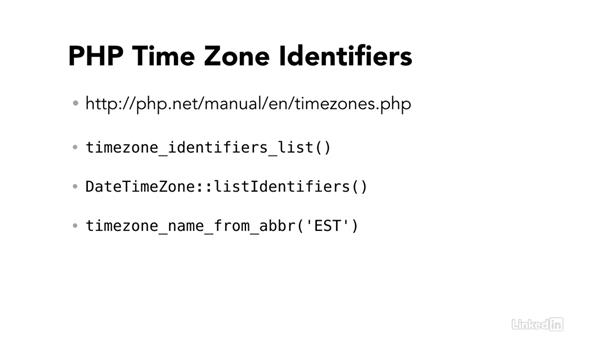 PHP time zone identifiers: Easy PHP Projects: Time Zone Conversion