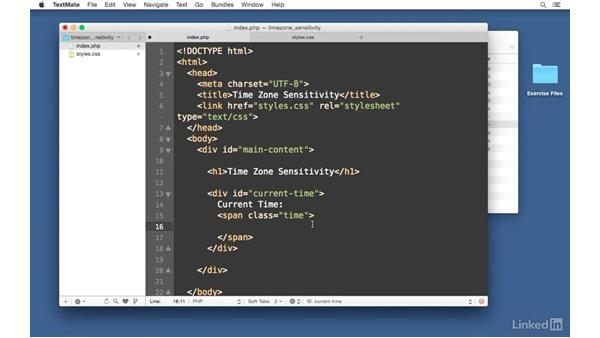 Display the current time: Easy PHP Projects: Time Zone Conversion