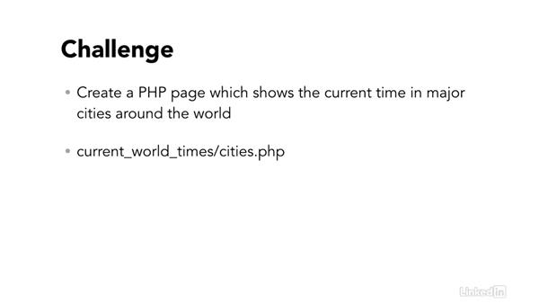 Challenge: Use major cities: Easy PHP Projects: Time Zone Conversion